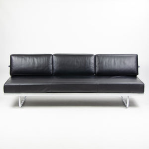 SOLD 2010 Cassina Italy Le Corbusier LC5 Three Seater Sofa Daybed Black Leather 1x Available