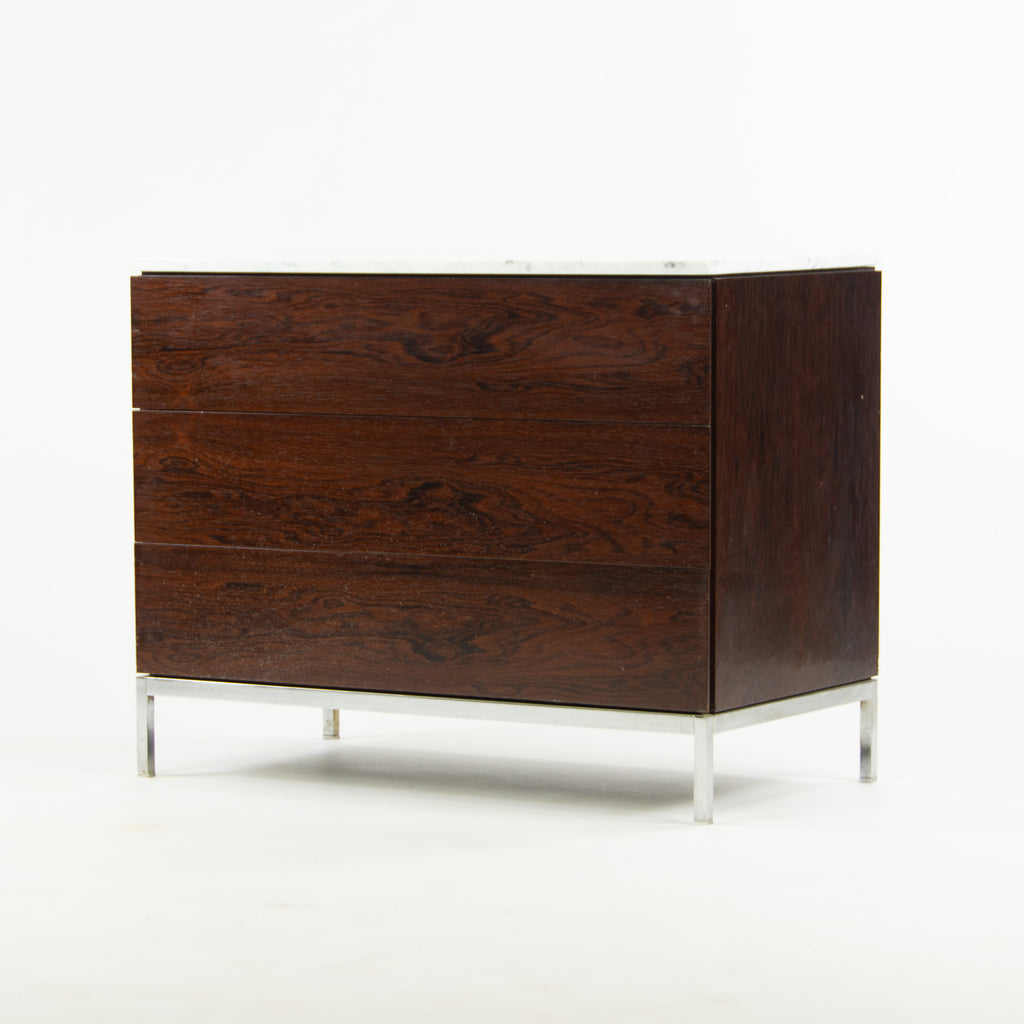 1950's Rare Florence Knoll Vintage Rosewood and Marble Credenza Cabinet Dresser