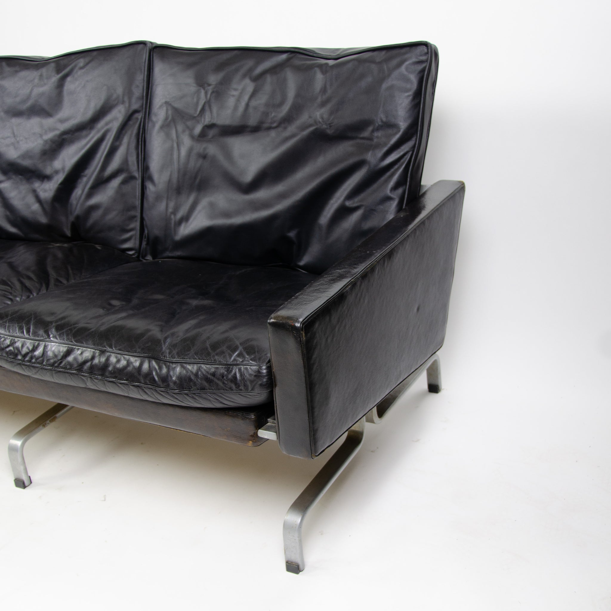 1960's Poul Kjaerholm PK31 3 Seater Sofa E Kold Christensen Fritz Hansen Black Leather