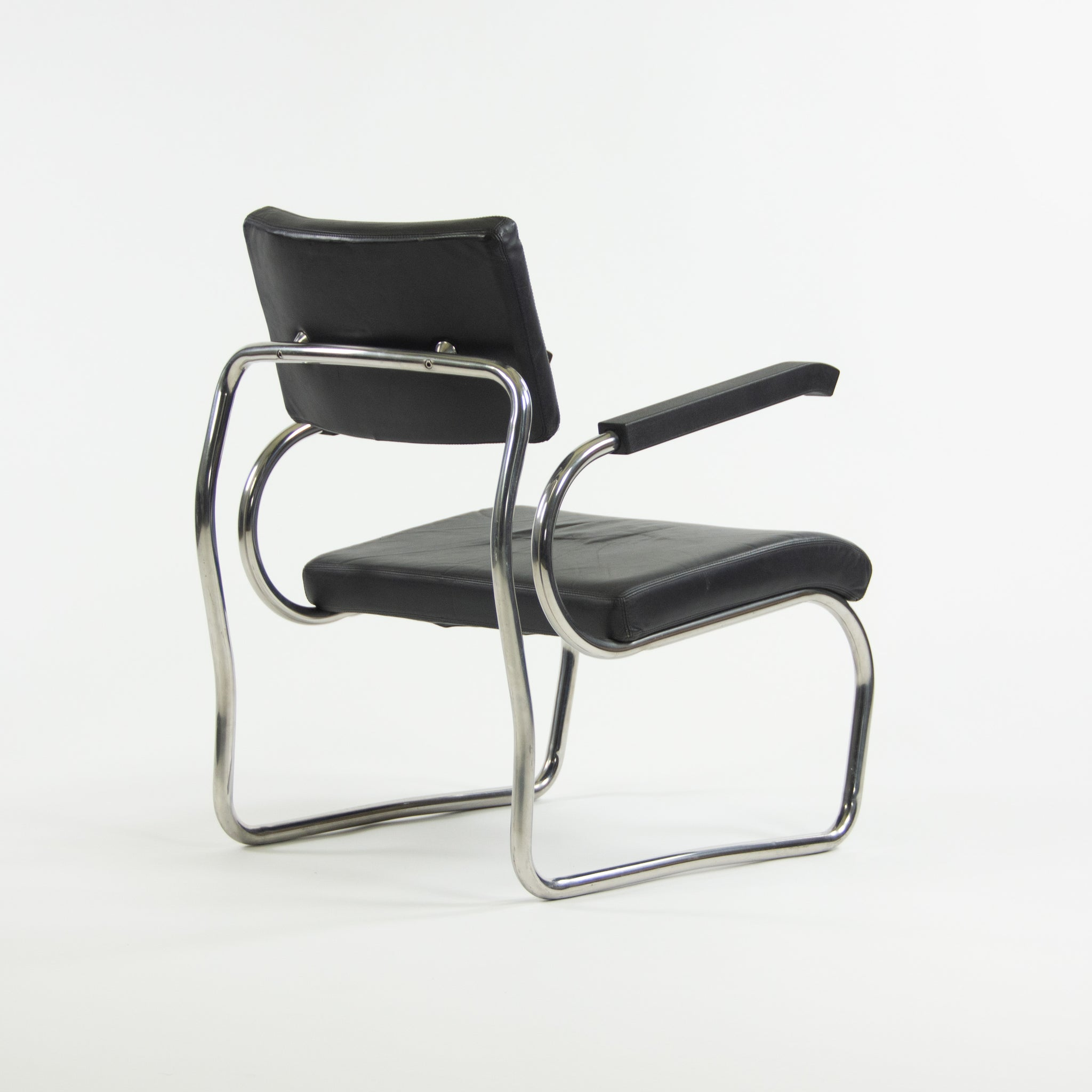 1990s Pair of Sant'elia Arm Chairs by Giuseppe Terragni for Zanotta Leather & Stainless