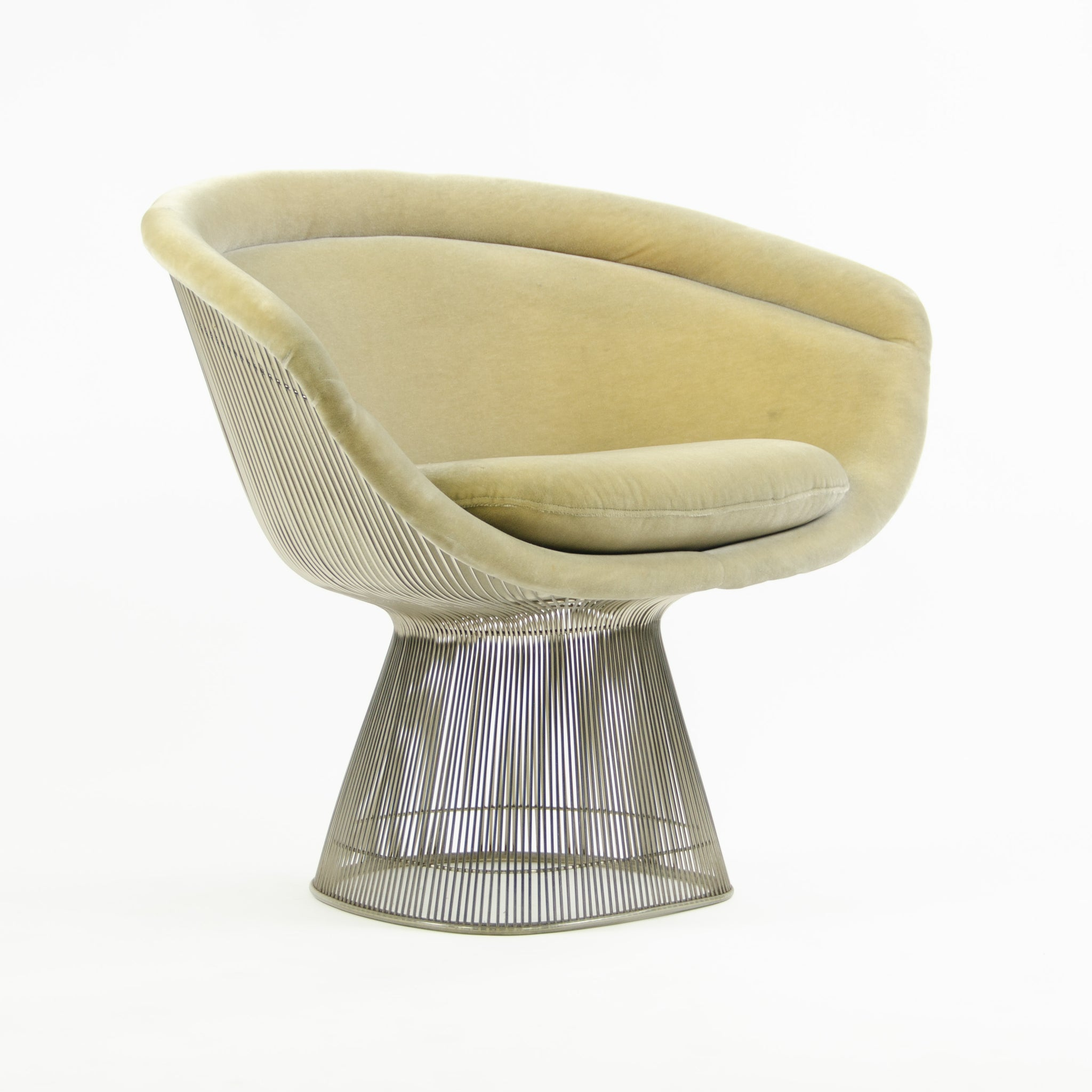 SOLD Knoll Studio 2000's Warren Platner Wire Lounge Chair Mohair Upholstery