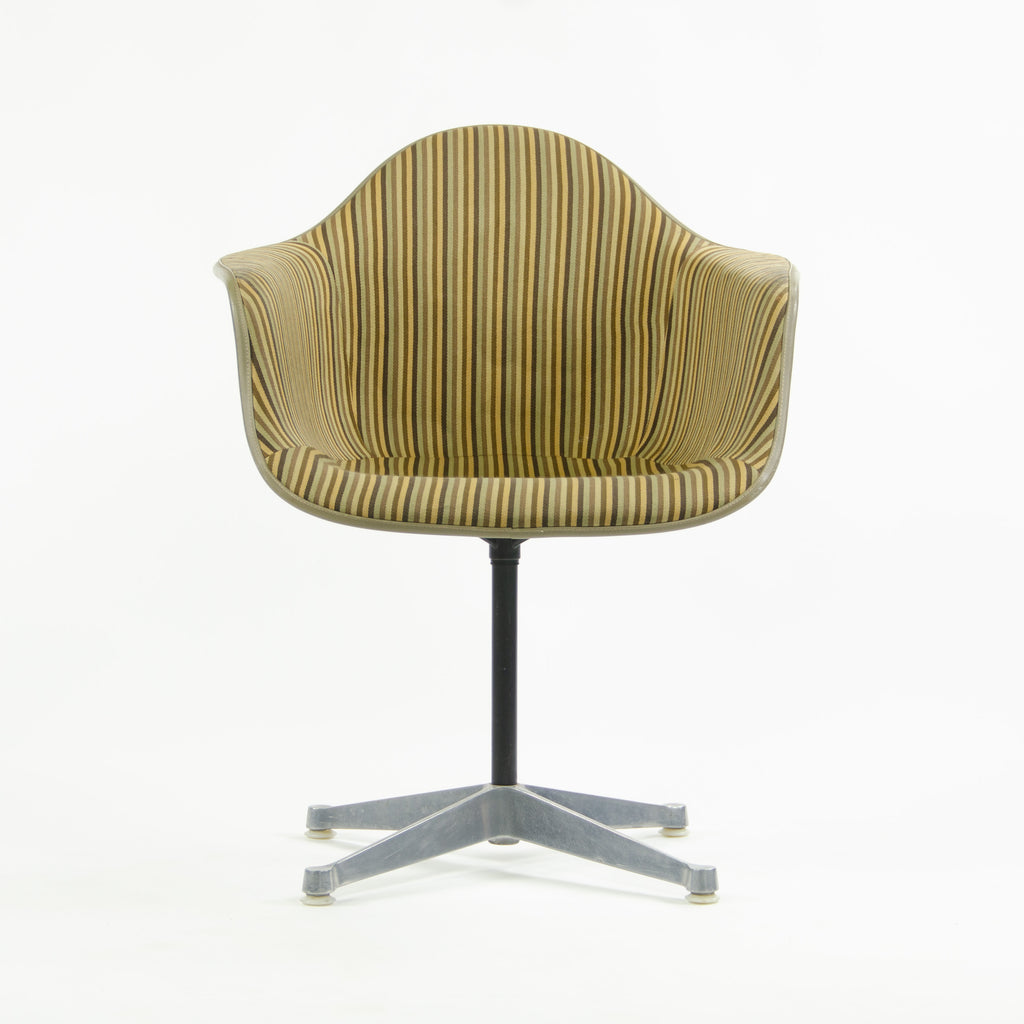 Early Eames Herman Miller PAC-1 Armshell Chair w Alexander Girard Stripe Fabric