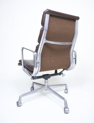 SOLD Eames Herman Miller 1970's Soft Pad Aluminum Group Executive Chair Brown