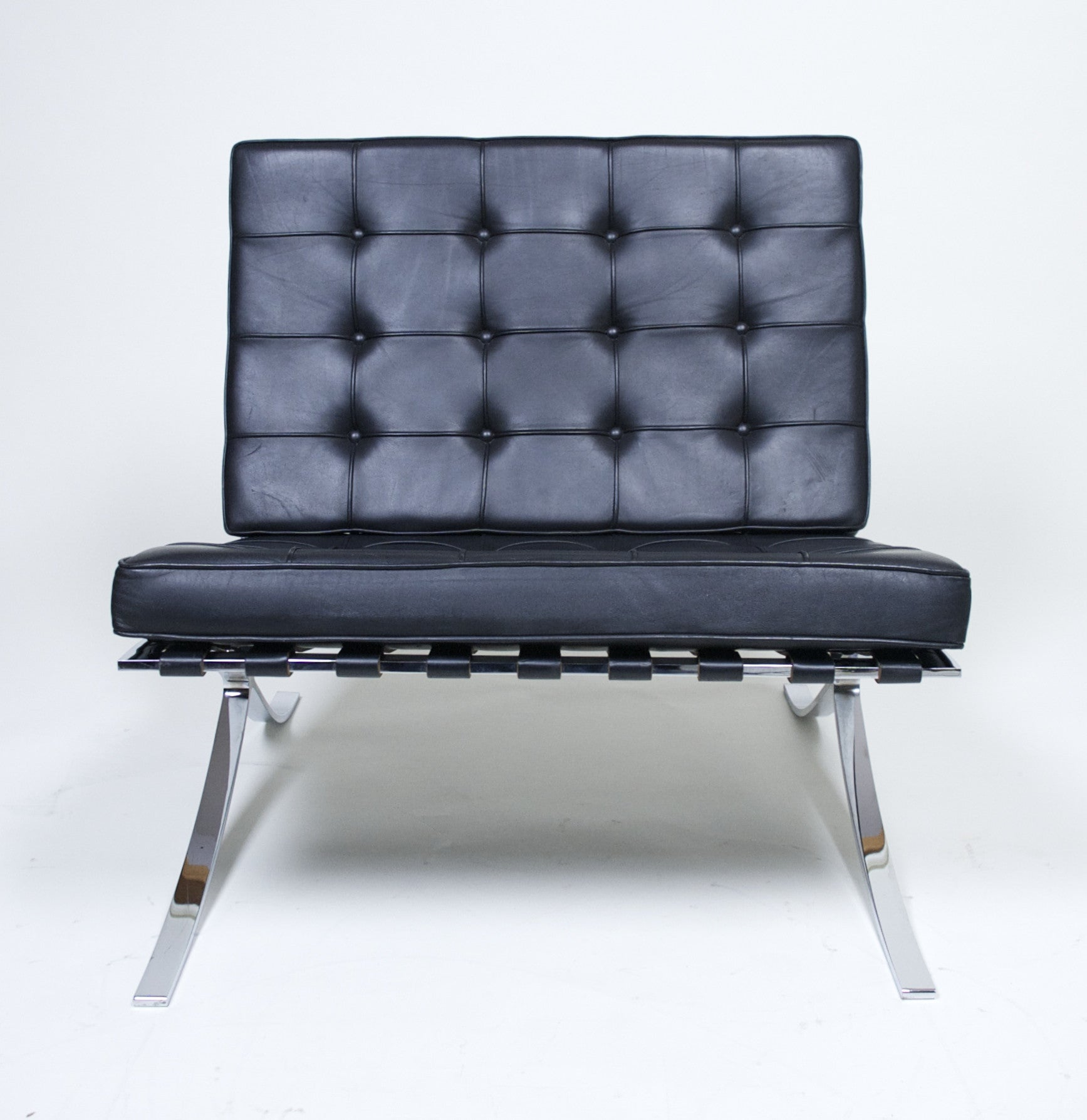 SOLD Knoll Barcelona Chair Mies Van Der Rohe Black Leather #1