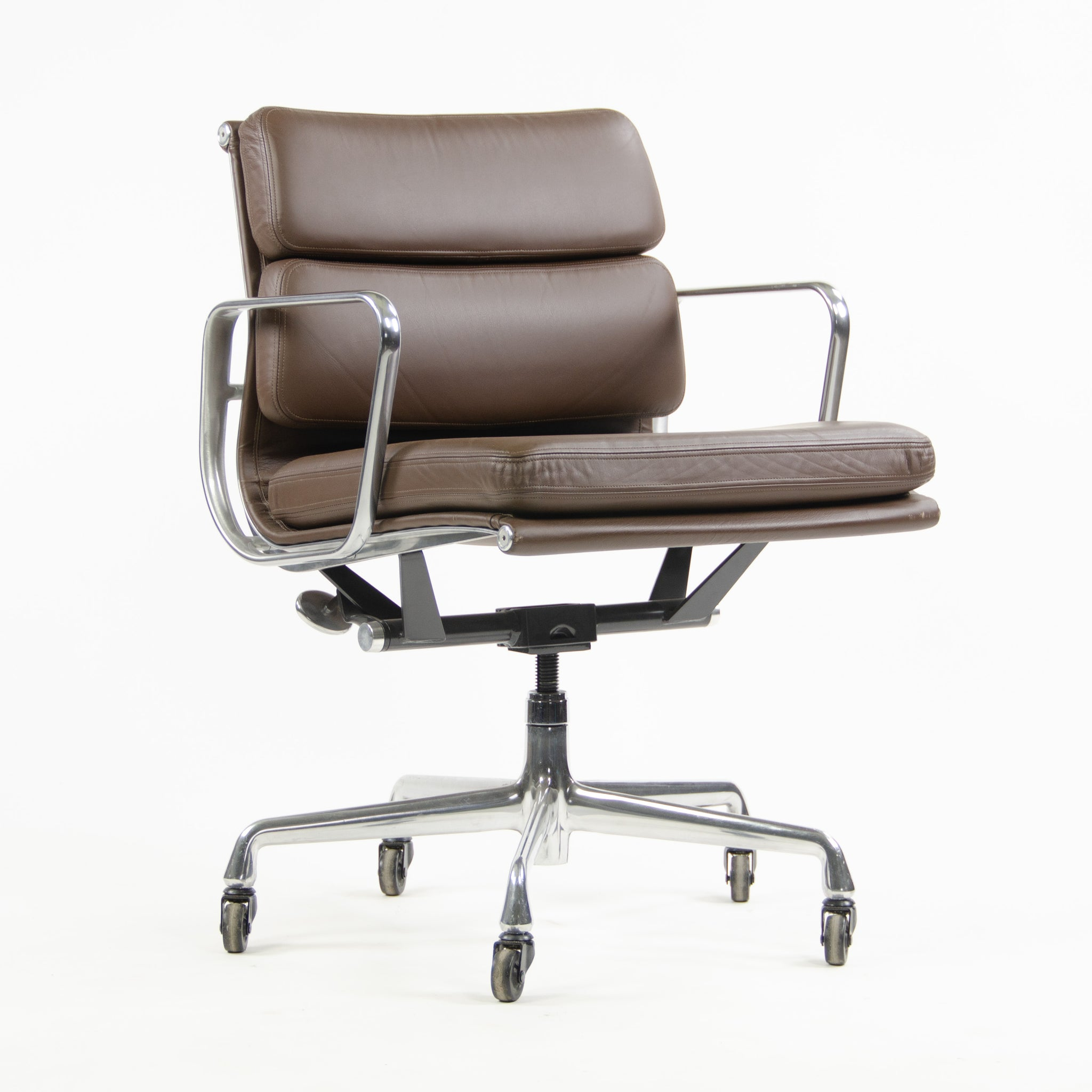 SOLD Herman Miller Eames Soft Pad Aluminum Group Chair Brown Leather 2006