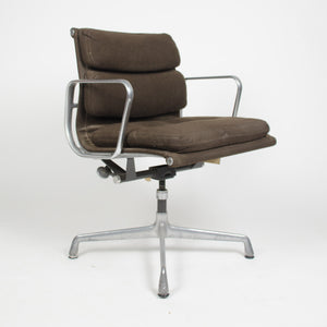 SOLD Eames Herman Miller Soft Pad Aluminum Group Desk Chair Brown Hopsack 1975