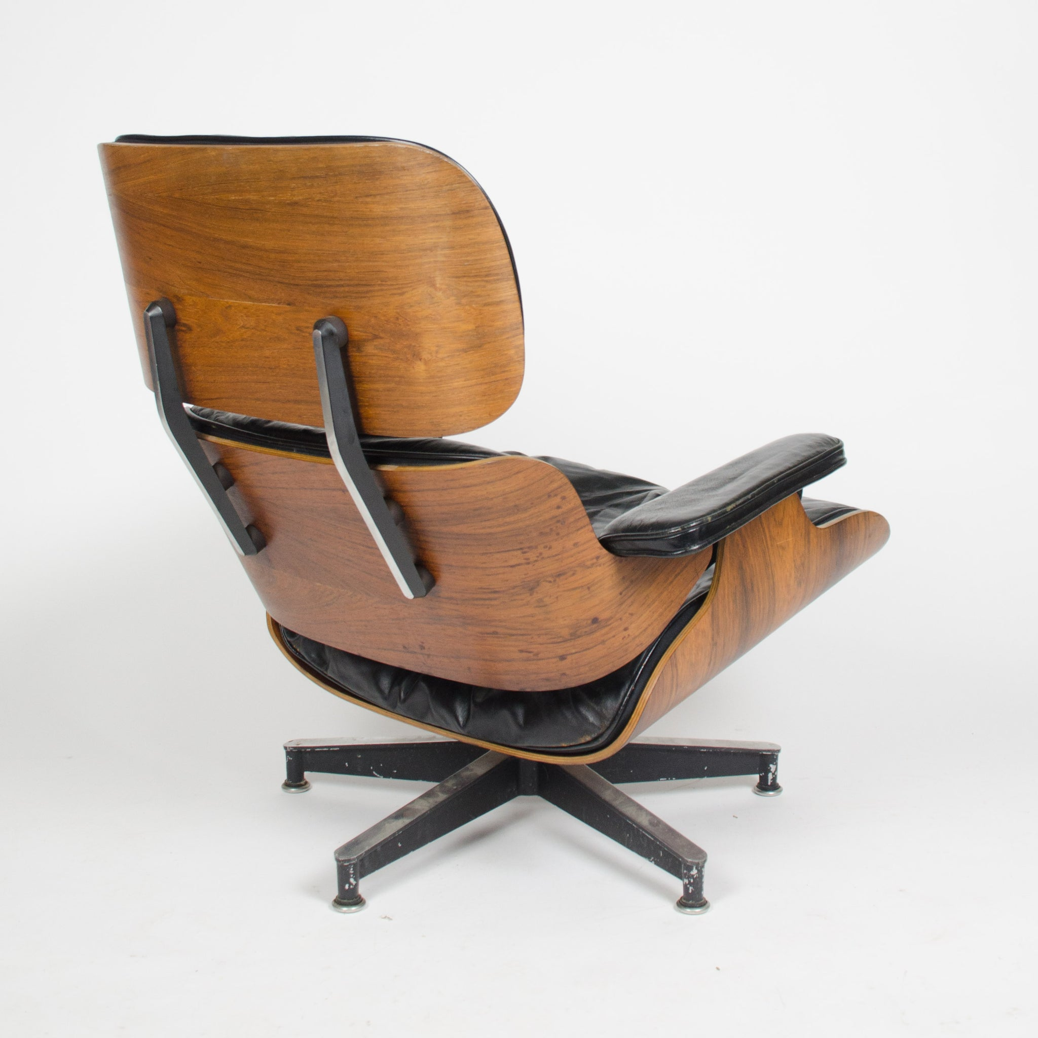 SOLD 1956 Herman Miller Eames Lounge Chair w Swivel Ottoman Boots + 2 hole armrests