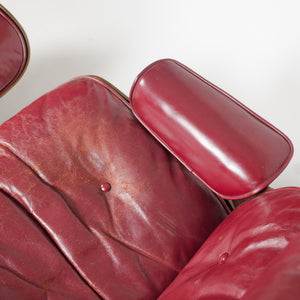 SOLD 1956 Herman Miller Eames Lounge Chair w Ottoman Boot Glides 3 Screws Red