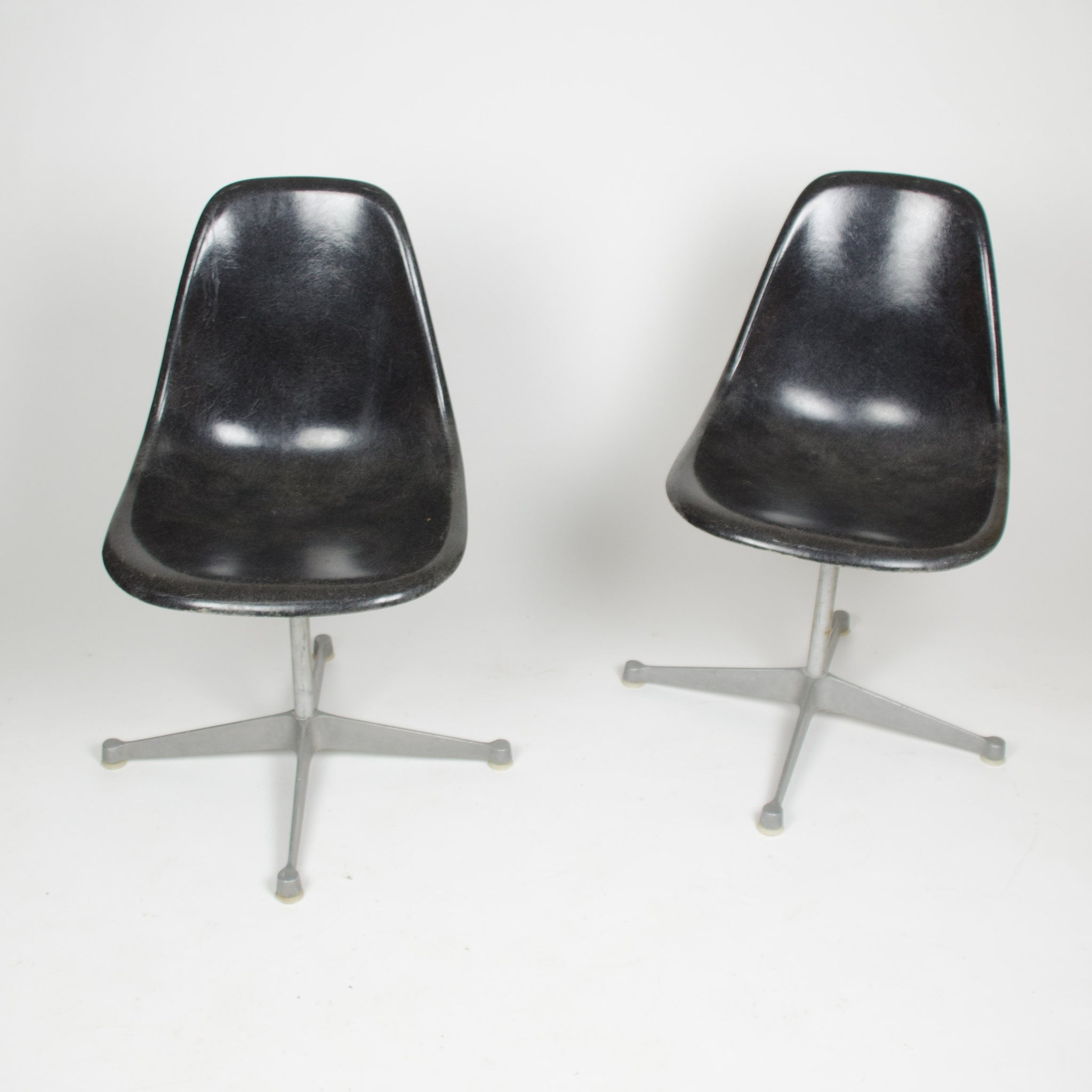SOLD Eames Herman Black Fiberglass Side Shell Chairs (Sold Separately)