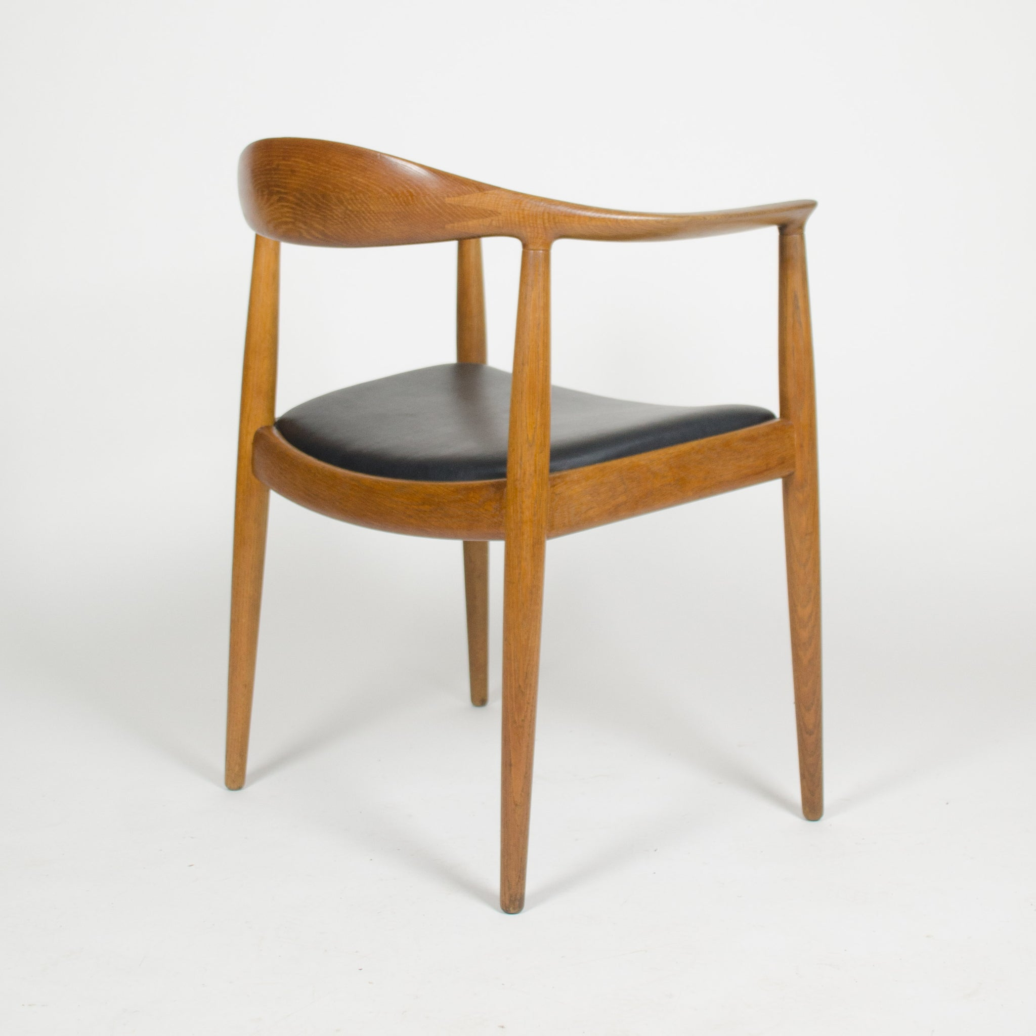 SOLD 1960's Set of Hans Wegner Round The Chair Johannes Hansen For Knoll Danish Oak Armchairs