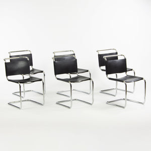 1960's Set of 6 Marcel Breuer for Knoll B33 Dining Chairs Chrome Leather Bauhaus