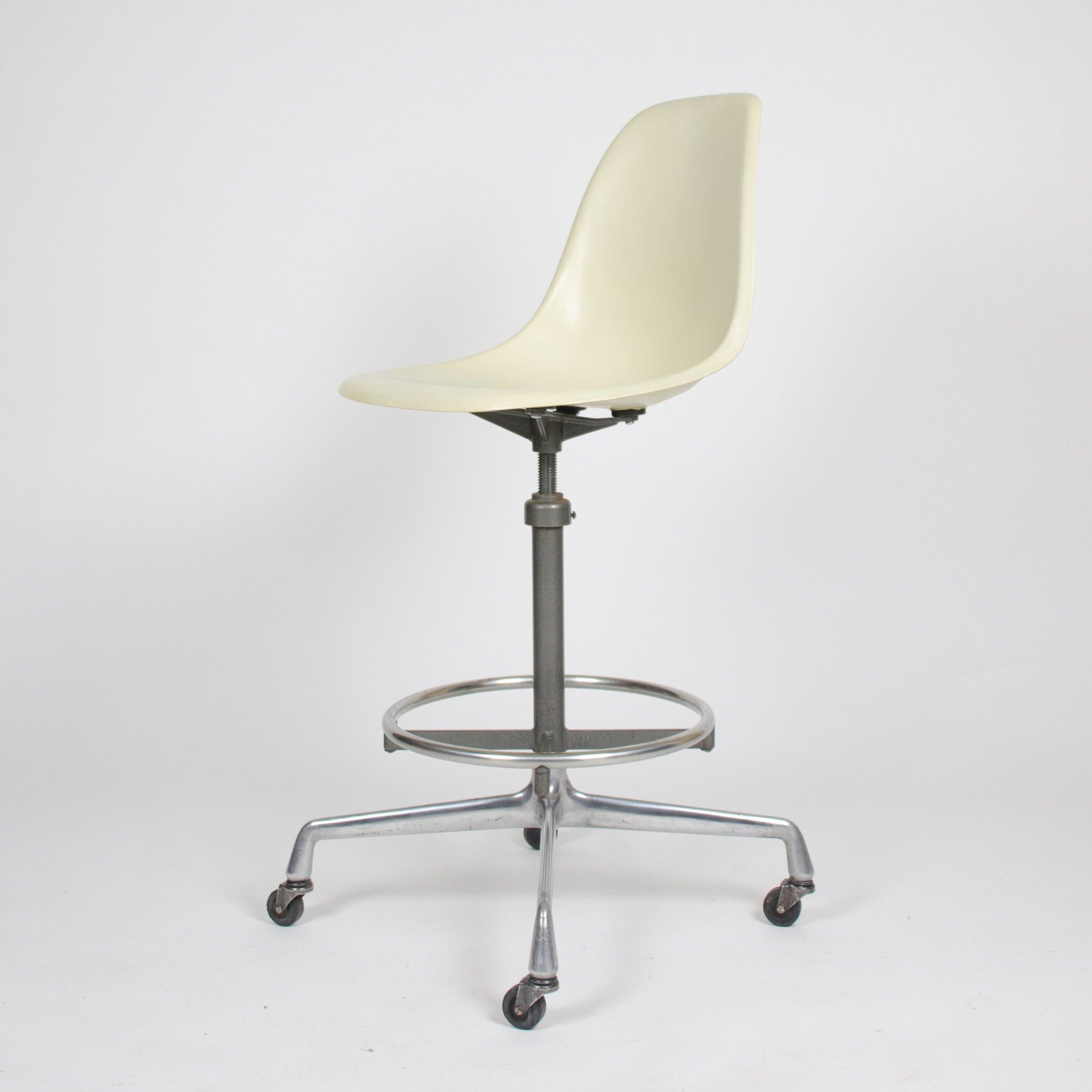 SOLD Eames Herman Miller Ivory Fiberglass Side Drafting Chair