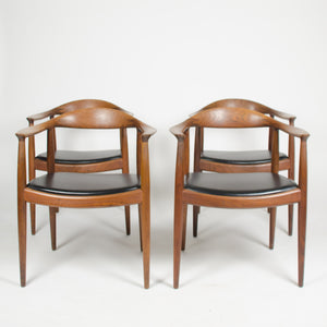 SOLD 4x Hans Wegner Round The Chair Johannes Hansen Denmark For Knoll Teak Armchairs