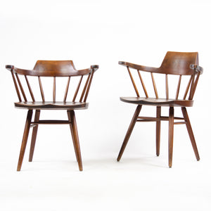 1950's Early Vintage George Nakashima Studio Pair Captains Chairs Walnut