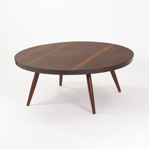 1959 George Nakashima 36 inch Round Black Walnut Coffee Table with Provenance
