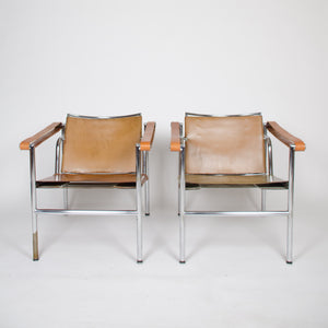1950's Authentic Le Corbusier Marked STENDIG LC1 Basculant Chairs Thonet Cassina