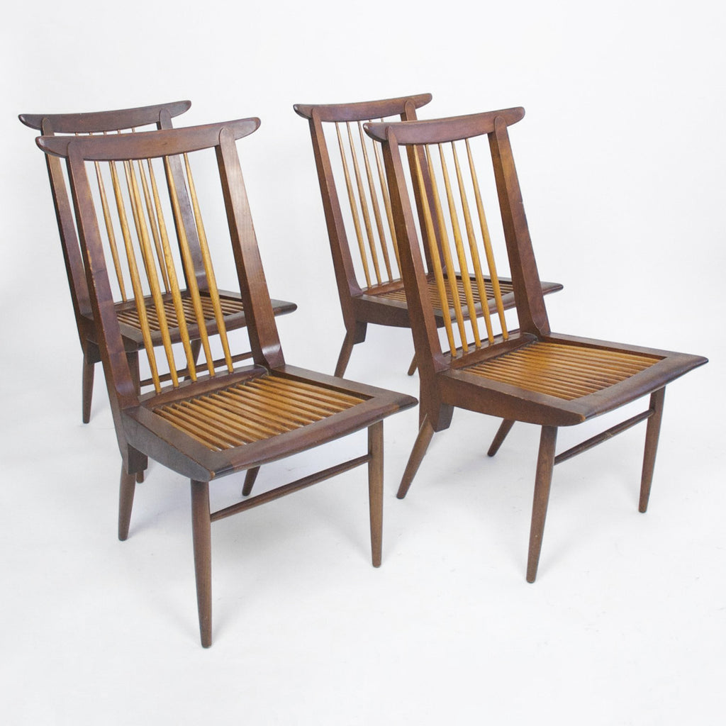 SOLD George Nakashima Sundra for Widdicomb Set of 4 Chairs Rare Walnut, Authentic