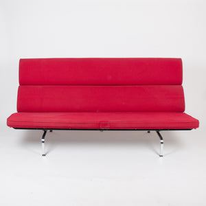 SOLD Early 2000's Eames Herman Miller Sofa Compact with Red Original Crepe Upholstery