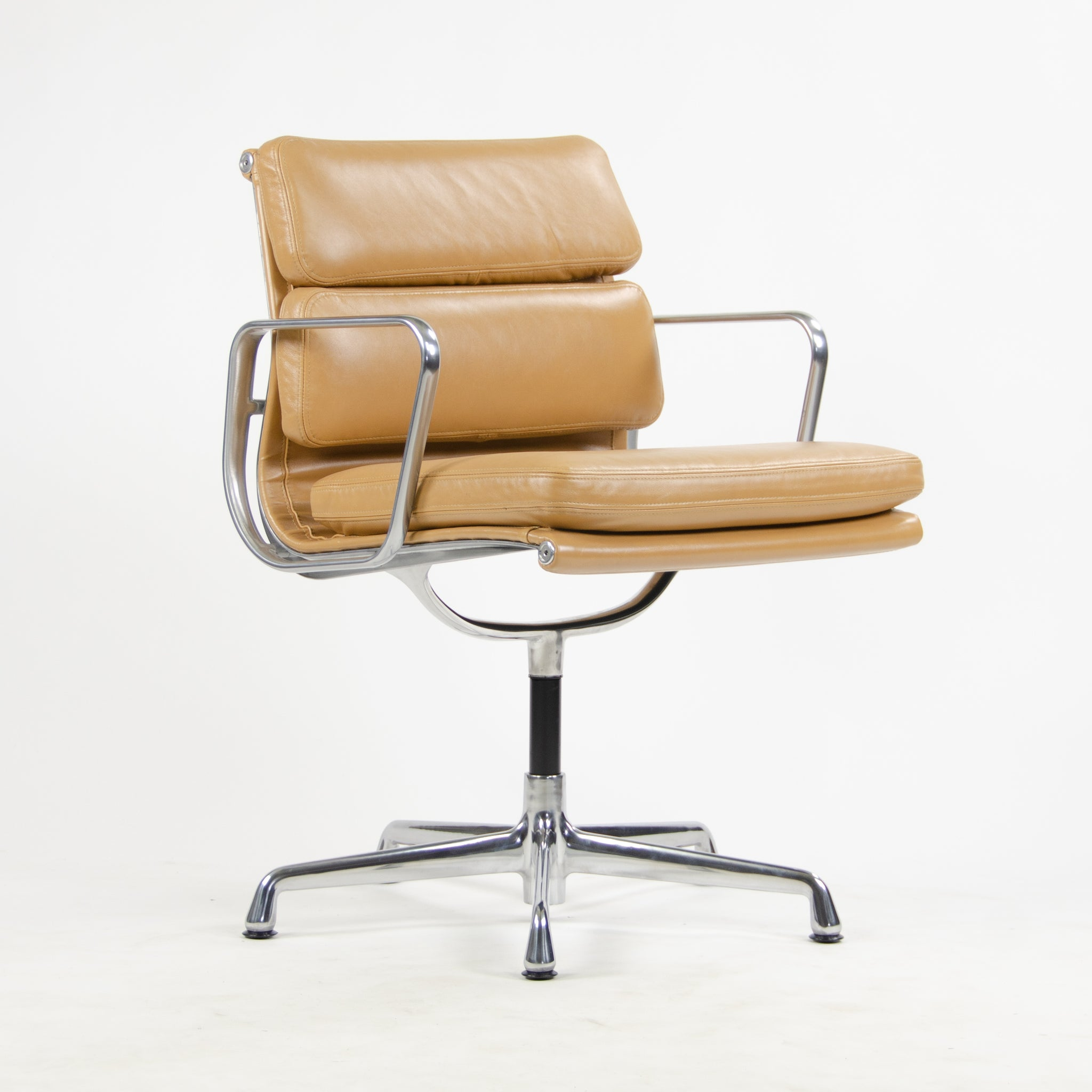 SOLD Eames Herman Miller Low Soft Pad Aluminum Desk Side Chair Tan Leather NEW