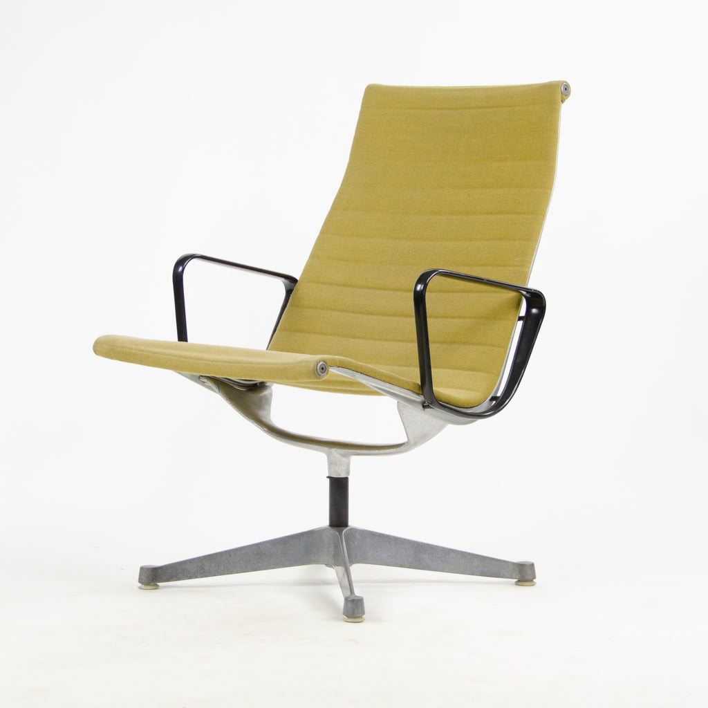 1960's Ochre Eames Herman Miller Aluminum Group Lounge Chair, Girard Fabric