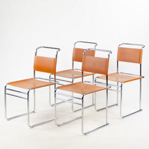B5 for Marcel Breuer Set of 4 Chrome Leather Bauhaus Dining Chairs for Tecta