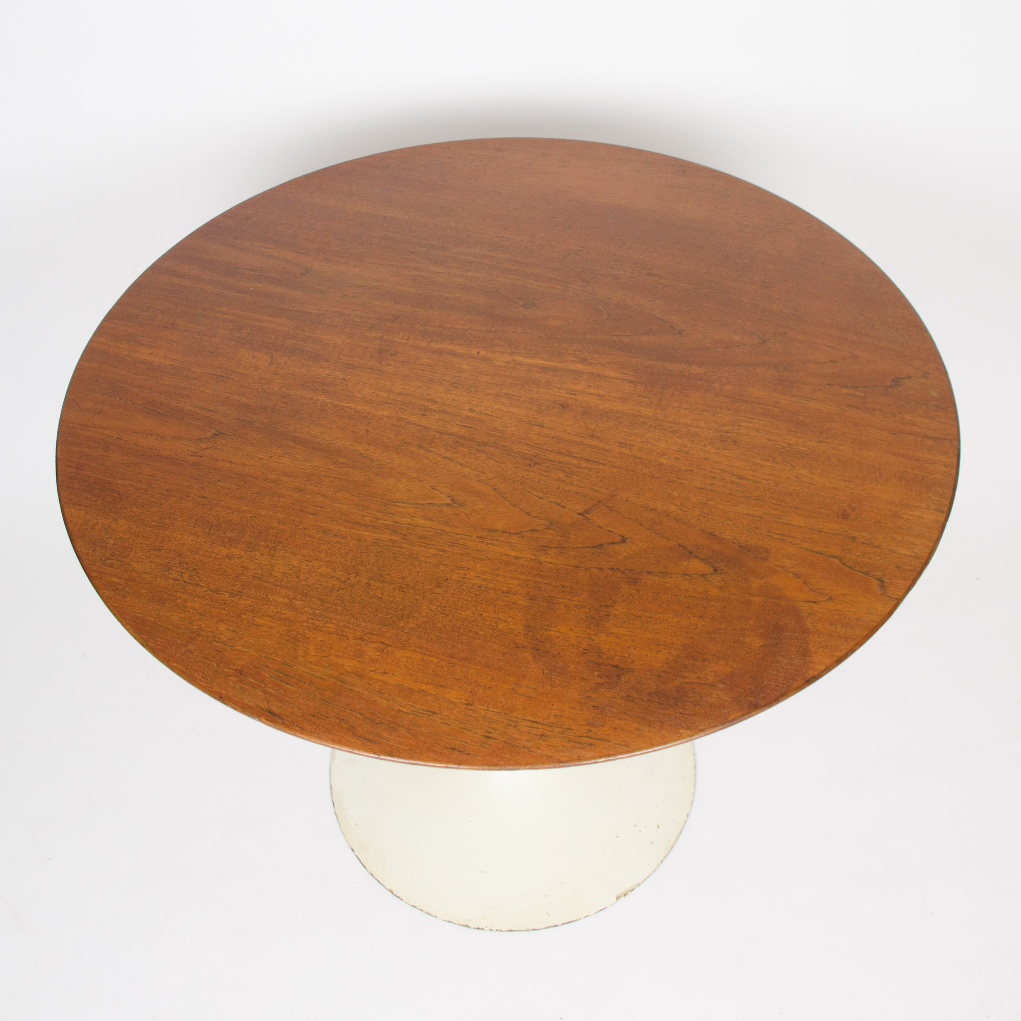 SOLD 1960's Eero Saarinen For Knoll 36 Inch Walnut Tulip Cafe / Dining Table Marked
