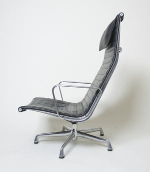 SOLD Eames Herman Miller Aluminum Group Executive Lounge Chair Black Leather Mint