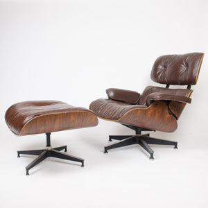 SOLD 1973 Herman Miller Eames Lounge Chair & Ottoman Rosewood 670 671 Brown Leather