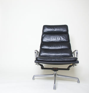 SOLD Eames Herman Miller Soft Pad Aluminum Lounge Chair with Ottoman Black Leather