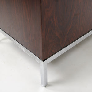 1960's Florence Knoll Vintage Rosewood and Marble Credenza Cabinet Finished Back