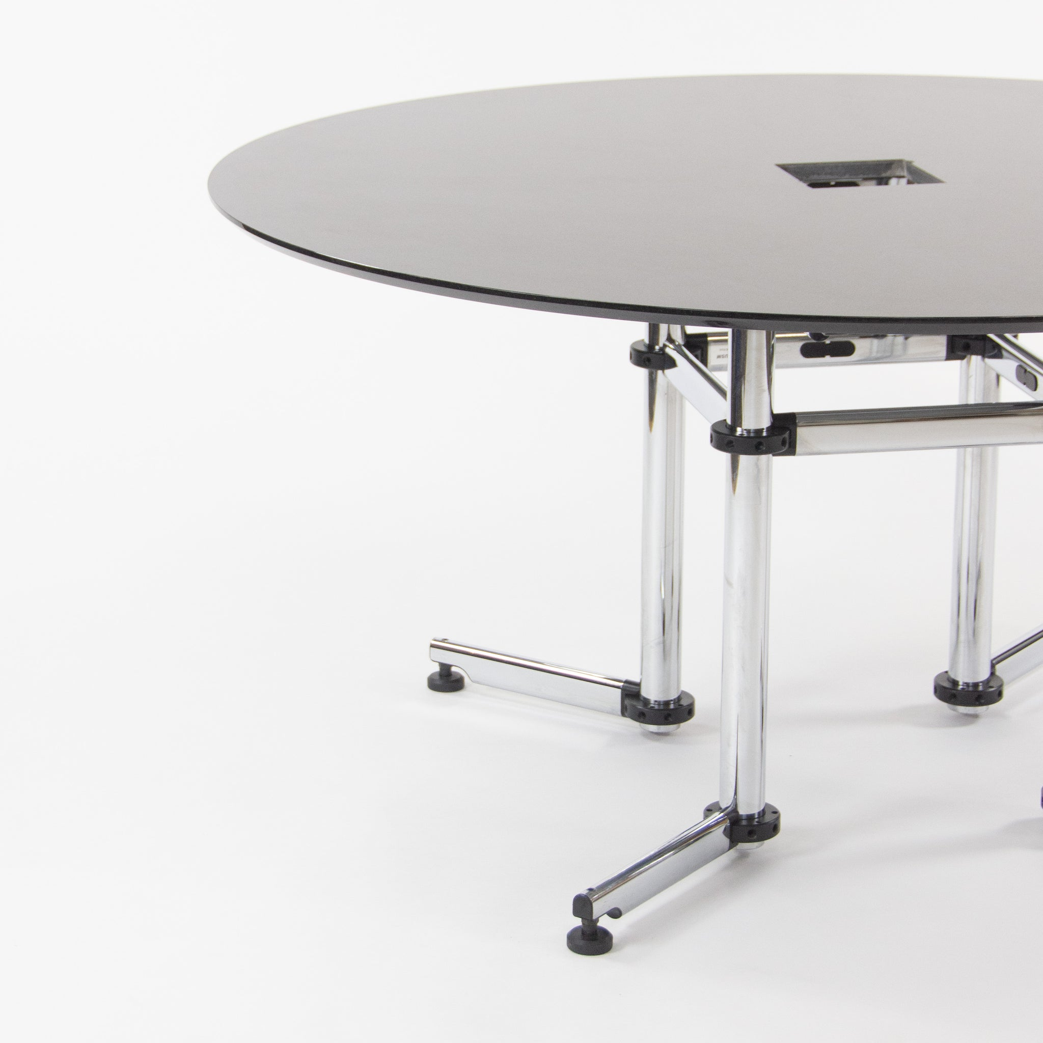 Kitos by USM Haller 60 Inch Round Black Marble Meeting Conference Office Table