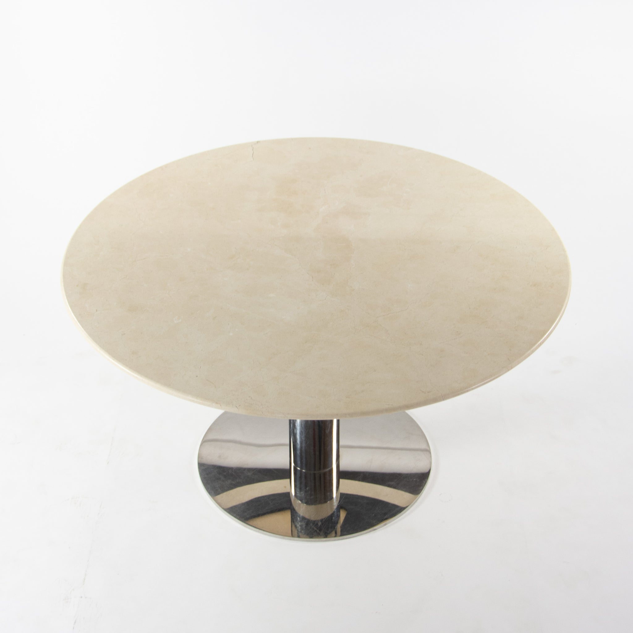 Nicos Zographos Round Beige Marble Stainless Conference Dining Table