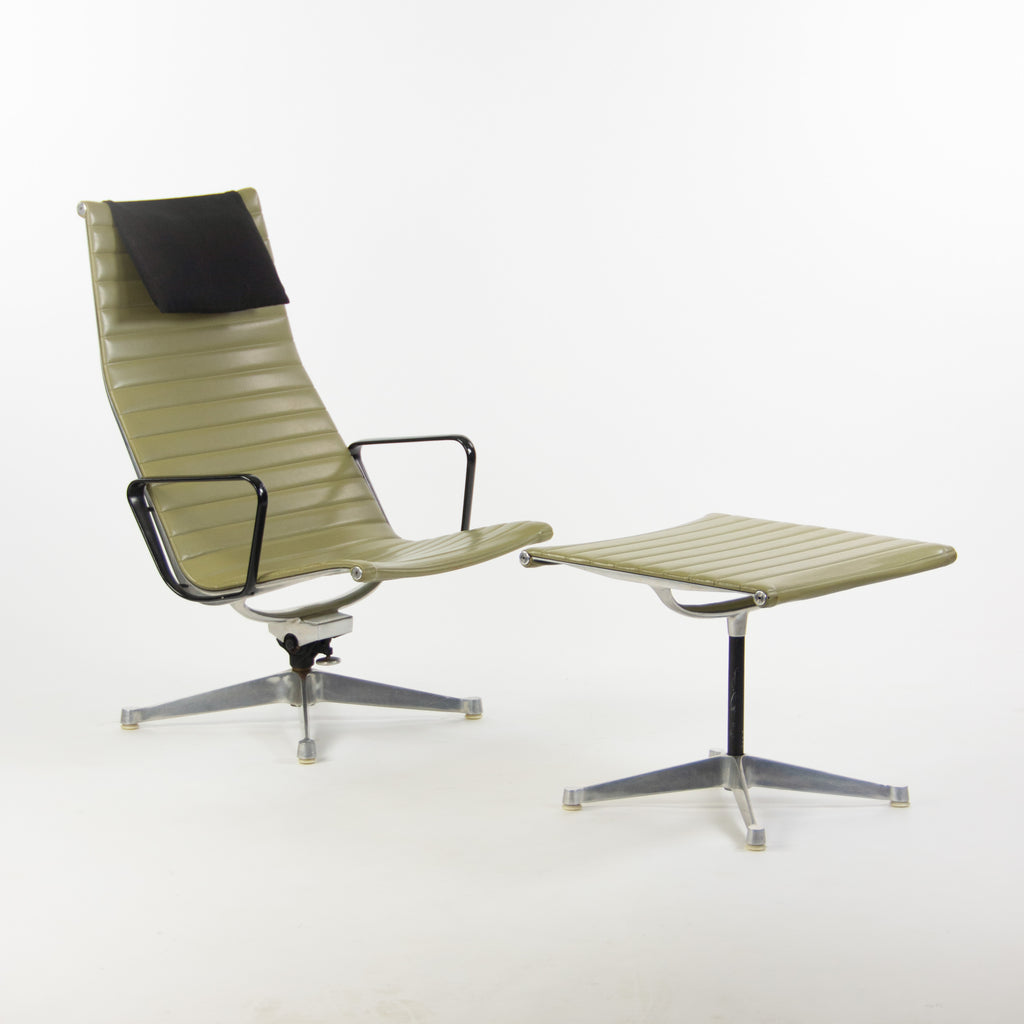 SOLD 1958 Herman Miller Patent Pending Eames Aluminum Group Lounge Chair & Ottoman Green Naugahyde