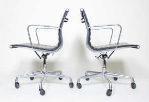 SOLD Eames Herman Miller Aluminum Group Executive Desk Chair Black Leather 2 Available