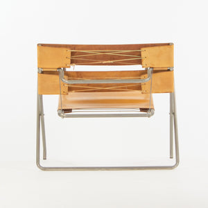 1970's Marcel Breuer for Tecta Bauhaus B4 D4 Folding Chairs in Tan Leather Pair