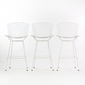 SOLD Harry Bertoia for Knoll 1970's Vintage Set of 3 White Bar Height Wire Stools