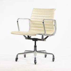 SOLD Herman Miller Eames Aluminum Group Executive Chairs Ivory Leather 2009