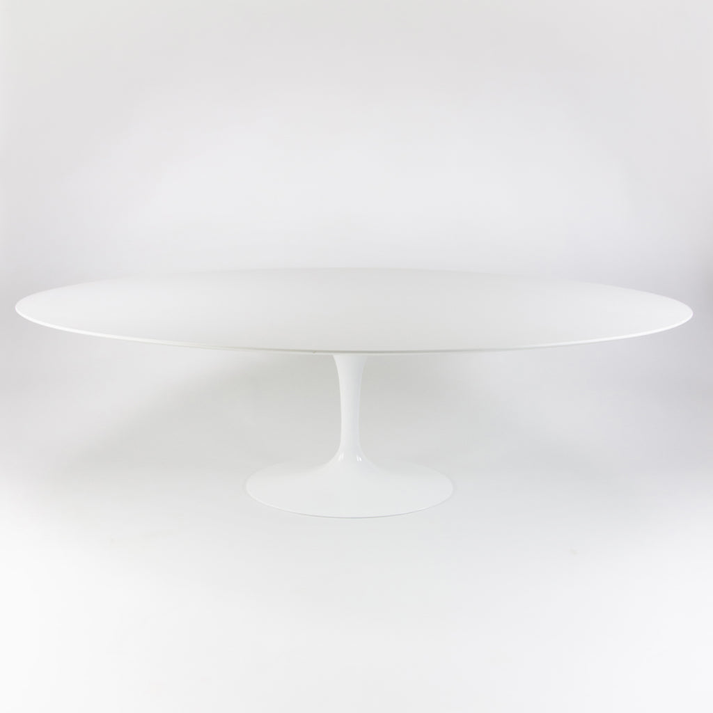 SOLD Eero Saarinen for Knoll 2019 96 inch White Laminate Oval Tulip Dining Table