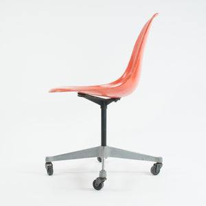 SOLD Herman Miller 1950's Eames  Red / Orange Fiberglass Side Rolling Shell Chair Orig