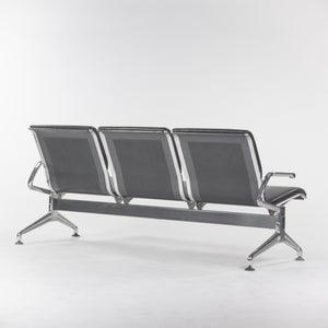 SOLD Jorgen Kastholm Kusch+Co 7130 3-Seater Airport Bench Seating Black Leather
