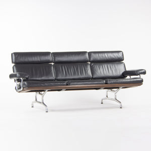SOLD 2000's Eames for Herman Miller Three Seater Sofa Black Walnut and Black Leather
