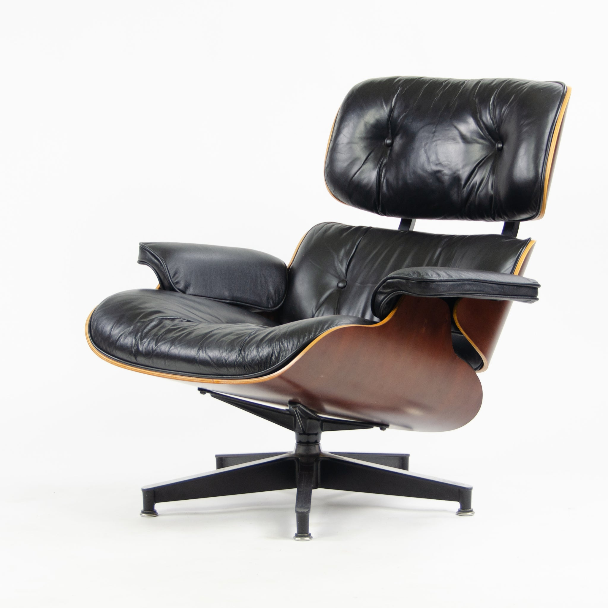 SOLD 2001 Herman Miller Eames Lounge Chair & Ottoman Cherry 670 671 Black Leather