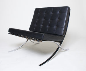 SOLD Knoll Barcelona Chair Mies Van Der Rohe Black Leather Gorgeous Condition #1 of 2