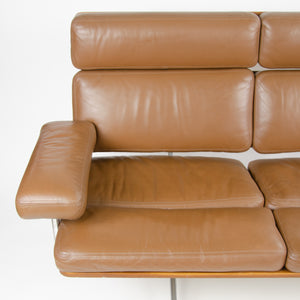 SOLD Brown Leather Eames Herman Miller Three Seater Sofa in Walnut