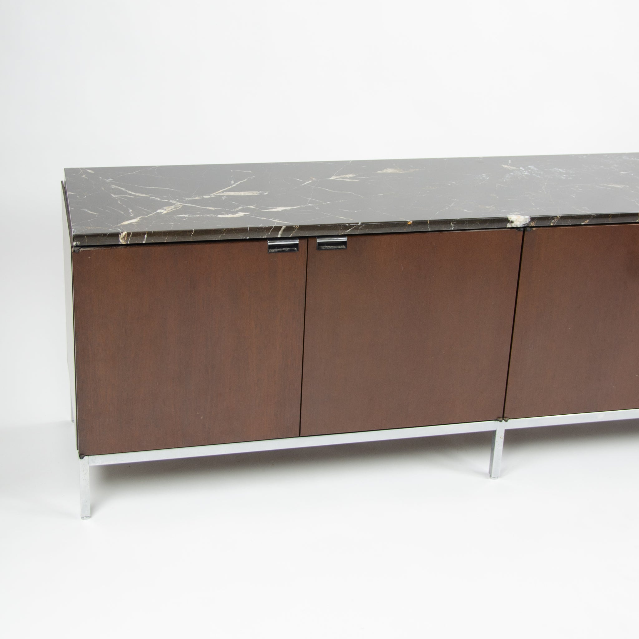 1970's Florence Knoll Wood and Marble Credenza Cabinet Sideboard