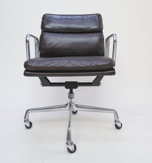 SOLD Eames Herman Miller Soft Pad Aluminum Group Chair Brown Leather Set Of 7