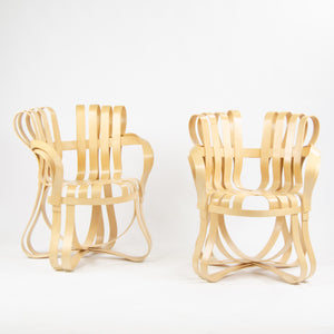 2001 Frank Gehry for Knoll Cross Check Arm Chairs Maple Pair