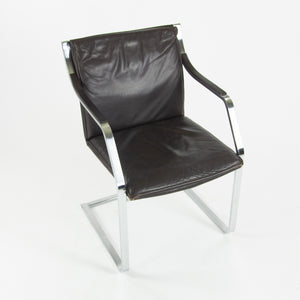 Rudolf B. Glatzel Vintage Walter Knoll Art Collection Leather & Stainless Chair