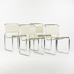 1970's Nicos Zographos Designs No 66 Tubular Chrome Dining Chairs Set of 4