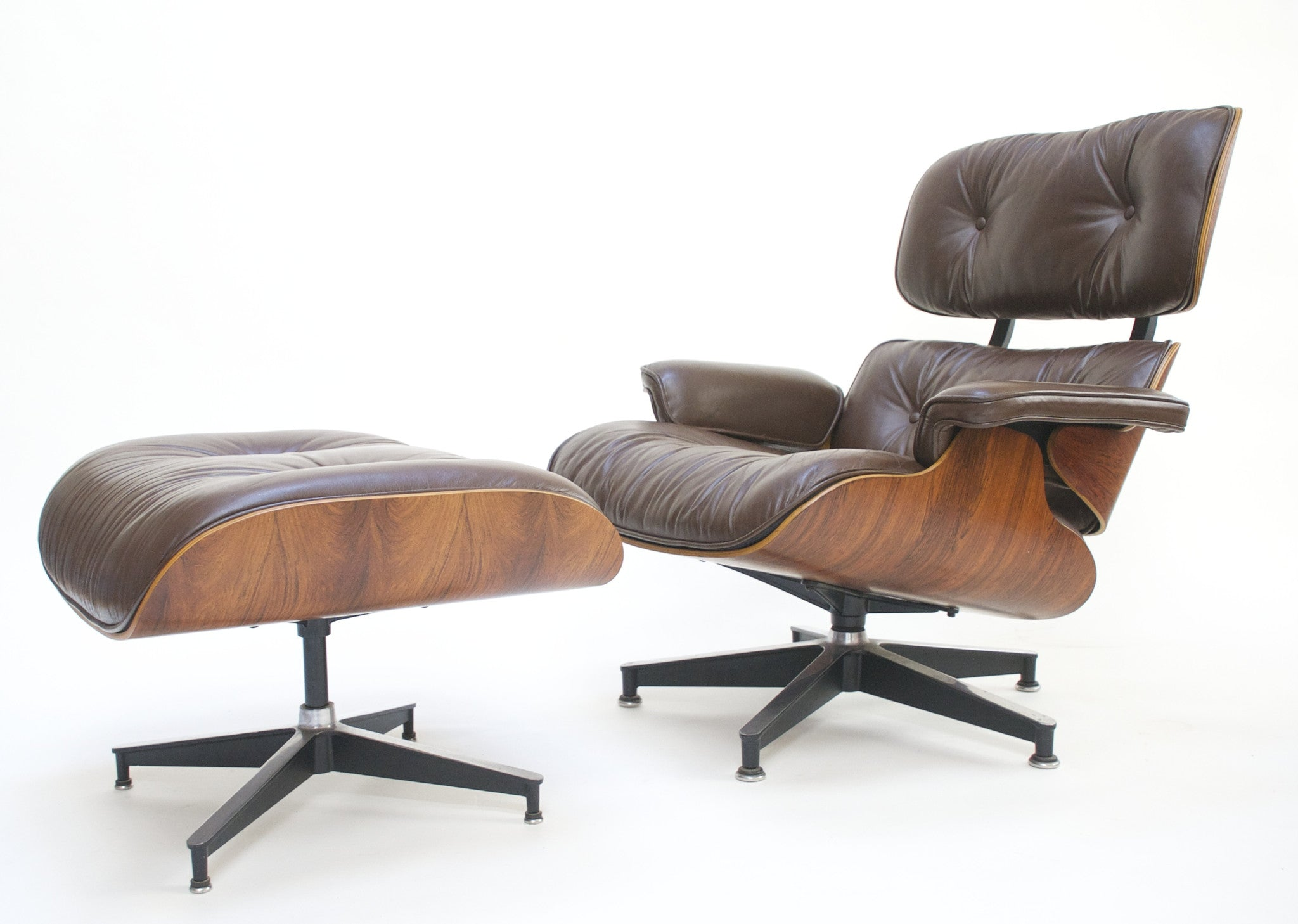 SOLD 1970u0027s Herman Miller Eames Lounge Chair U0026 Ottoman Rosewood 670 671  Brown